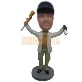 hunter handing a shot gun and a beer bottle custom bobbleheads