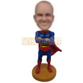 superman in blue superman suit custom bobbleheads