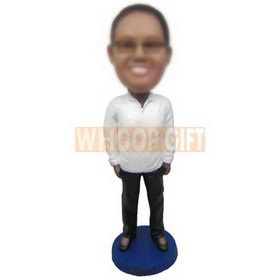 glasses woman in white coat matching with black pants custom bobbleheads