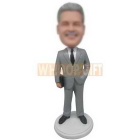 business man in grey suit custom bobbleheads