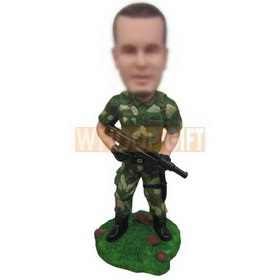 soldier in army uniform holding a machine gun custom bobbleheads