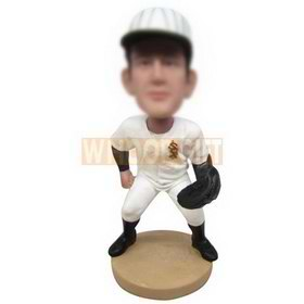 baseball player in white sports suit custom bobbleheads