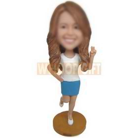 fashion long hair woman in white T-shirt matching with blue dress custom bobbleheads