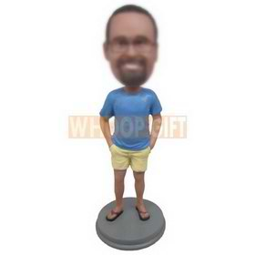 glasses man in blue shirt matching with yellow shorts custom bobbleheads