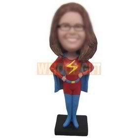 long hair fashion superwoman custom bobbleheads