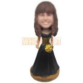 beautiful woman in black long dress holding a bunch of flowers custom bobbleheads