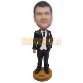 handsome man in black suit custom bobbleheads