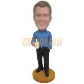 young man in blue T-shirt holding a cup custom bobbleheads