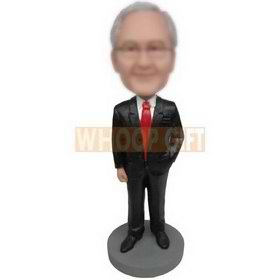 business man in black suit matching with a red tie custom bobbleheads