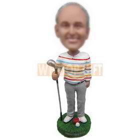 man in leisure wear playing golf custom bobbleheads