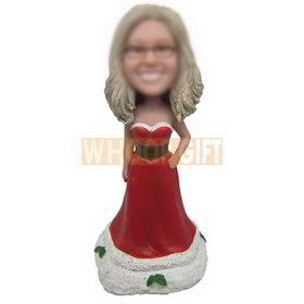 beautiful woman in red long dress custom bobbleheads