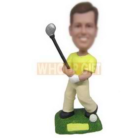 man in leasure wear playing golf custom bobbleheads