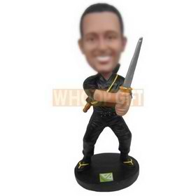 man in black leisure wear holding a sword custom bobbleheads