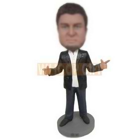 serious man in black suit custom bobbleheads