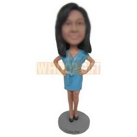 slim woman in blue dress custom bobbleheads
