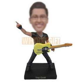 fashion young man with his guitar custom bobbleheads