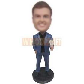 handsome man in blue suit holding a cup custom bobbleheads