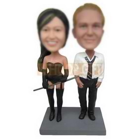 female dole dancer and male dole dancer in white T-shirt custom bobbleheads