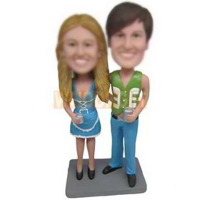 beautiful wife in blue dress and husband in green waistcoat custom bobbleheads