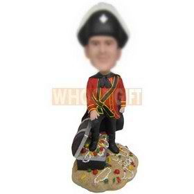 handsome soldier in red uniform with jewellry custom bobbleheads