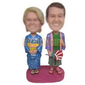 wife in blue kimono and husband in purple kimono custom bobbleheads