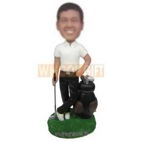 man in white T-shirt playing golf custom bobbleheads