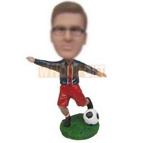 man in red shorts playing soccer custom bobbleheads