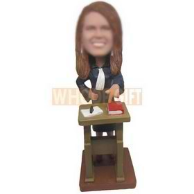 beautiful female teacher with her rostrum custom bobbleheads