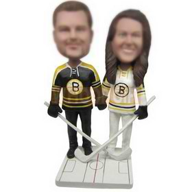 male hockey ball player in black sports wear and wife in white white sports wear custom bobbleheads