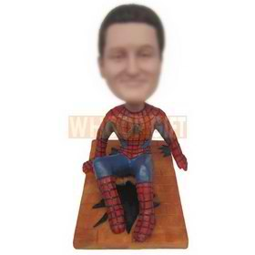 spider man sitting on the floor custom bobbleheads