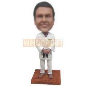 man in white taekwondo uniforms custom bobbleheads
