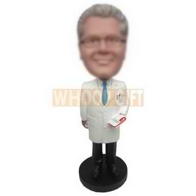 man in white suit holding a book custom bobbleheads