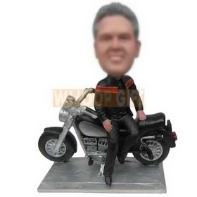 cool man in black jacket with his motorcycle custom bobbleheads