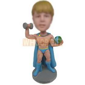 strong muscle superman holding a dumbbell custom bobbleheads