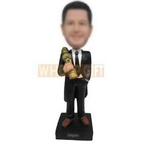 cool man in black suit holding a sculpture custom bobbleheads