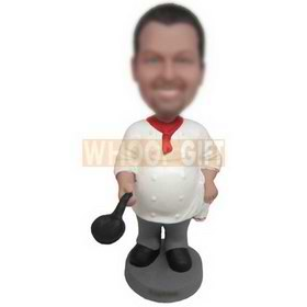 male chef holding a large soup ladle custom bobbleheads