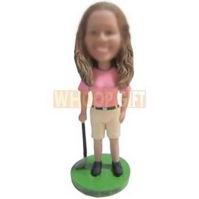 female golf player in pink shirt custom bobbleheads
