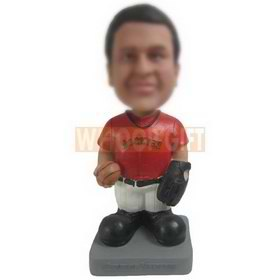 male baseball player in red T-shirt custom bobbleheads