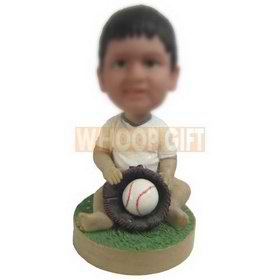 cute child in white T-shirt playing baseball custom bobbleheads