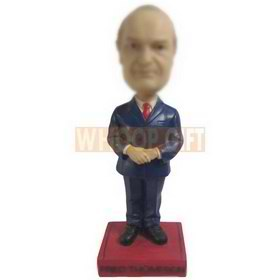 man in navy blue suit matching with red tie custom bobbleheads