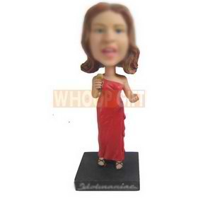 singing woman in red long dress custom bobbleheads