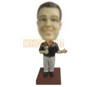 glasses man in black T-shirt holding a microphone custom bobbleheads
