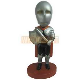 man in a suit of armour handing up with a shield custom bobbleheads