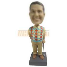 male golf player in grid sweater custom bobbleheads