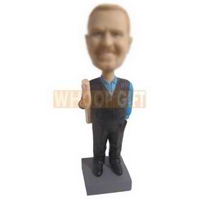 man in blue T-shirt holding a graph paper custom bobbleheads