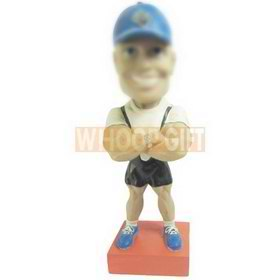 strong muscle man wearing a blue cap custom bobbleheads