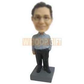 glasses man in T-shirt matching with black pants custom bobbleheads