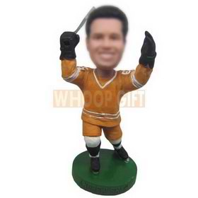 ice hockey player in orange sports wear custom bobbleheads