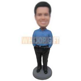 man in blue T-shirt matching with black pants custom bobbleheads