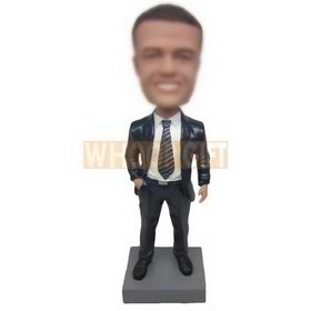 cool man in black suit matching with a gross grain tie custom bobbleheads